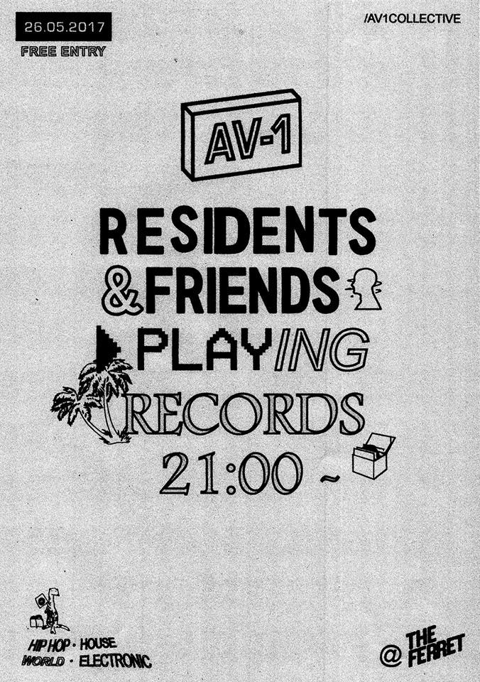 Event poster for AV-1 at The Ferret in Preston